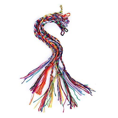 SODIAL 9 x hecho a mano trenzada amistad pulseras brazaletes tobillo brazalete pulsera tobillera fiesta regalos - Color al azar