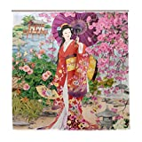 SZZWY Japanese Geisha Girl Bath Curtain Shower Curtain 3D Printing Waterproof Coated Polyester Fabric Bathroom with 12 Hooks 71 inches
