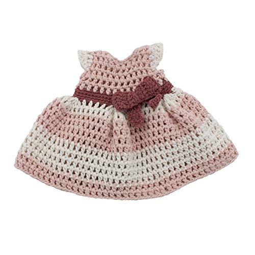 Sebra - Puppenkleid mit Schleifchen und Kordel - Baumwolle - Blossom pink - gehäkelt/Lochmuster - Für Puppen von 40cm Größe