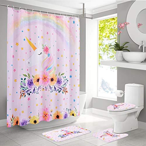 Juego de alfombras de baño de Unicornio con Cortinas de ducha Alfombrillas de baño Antideslizantes Impermeables Conjuntos de accesorios de baño 4 piezas para Tapa de inodoro para niños Chicas