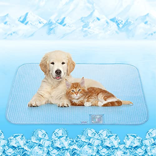 Dog Cooling Mat, Rywell Self Cooling Pads for Dogs & Cats, Arc-Chill Reusable Summer Pet Ice Cool Bed for Puppies, Super Absorption, Machine Washable & Portable, Home & Travel - S (18×24'') - Blue