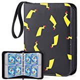 WEWOW 4-Pocket Binder for Pokemon Cards, Fits 400 Cards with 50 Removable Sheets, Baseball Card Collector Album Holder for Trading Cards, Portable Card Binder with Zipper Gifts for Boys Girls