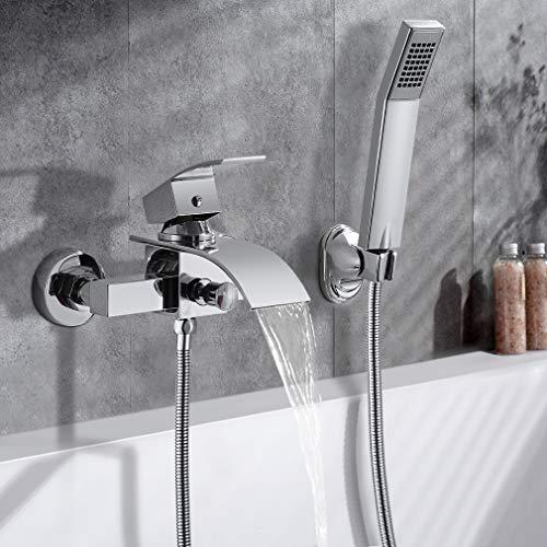 WOOHSE Zeitgenössische Wasserfall Badewanne Wasserhahn inkl. mit handbrause und Brauseschlauch 150cm Einhebelmischer zur Wandmontage DN 15 Badewannenarmatur für Bad Badezimmer