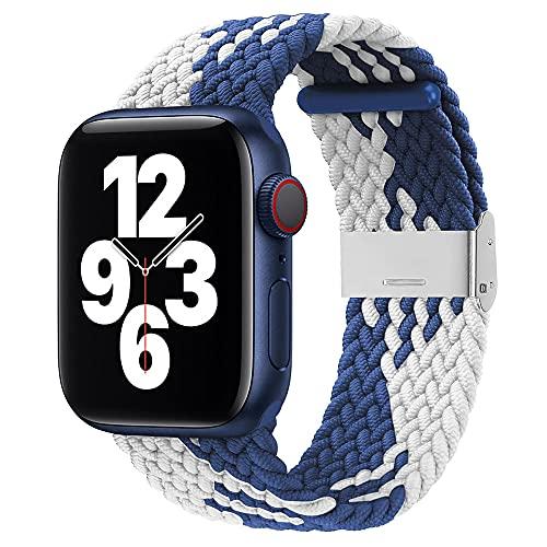 Firsteit Compatible con Apple Watch Braided Solo Loop Band 40mm 38mm ajustable y elástico con cierre de acero inoxidable para iWatch Series 6/5/4/3/2/1/SE (38 mm/40 mm, azul blanco)
