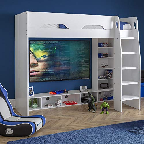 Wooden Gaming Bed, Happy Beds Galaxy White Wooden Gaming High Sleeper - 3ft Single (90 x 190 cm) Frame Only