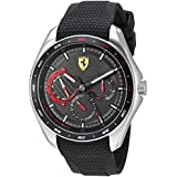 Ferrari Men's SPEEDRACER Stainless Steel Quartz Watch with Silicone Strap, Black, 22 (Model: 0830683)