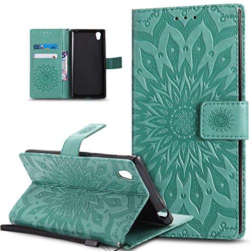 Kompatibel mit Sony Xperia L1 Hülle,Sony Xperia L1 Schutzhülle,Prägung Mandala Blumen Sonnenblume PU Lederhülle Flip Hülle Cover Ständer Etui Wallet Tasche Hülle Schutzhülle für Sony Xperia L1,Grün