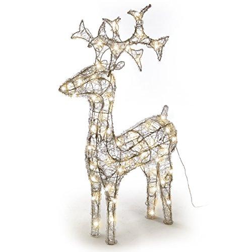 Rentier Acryl 120 LED Weihnachtsbeleuchtung 100 cm warm weiß
