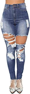 Women Comfy Casual Jeans Denim Ripped High Waist Stretch Slim Sexy Pencil Pants