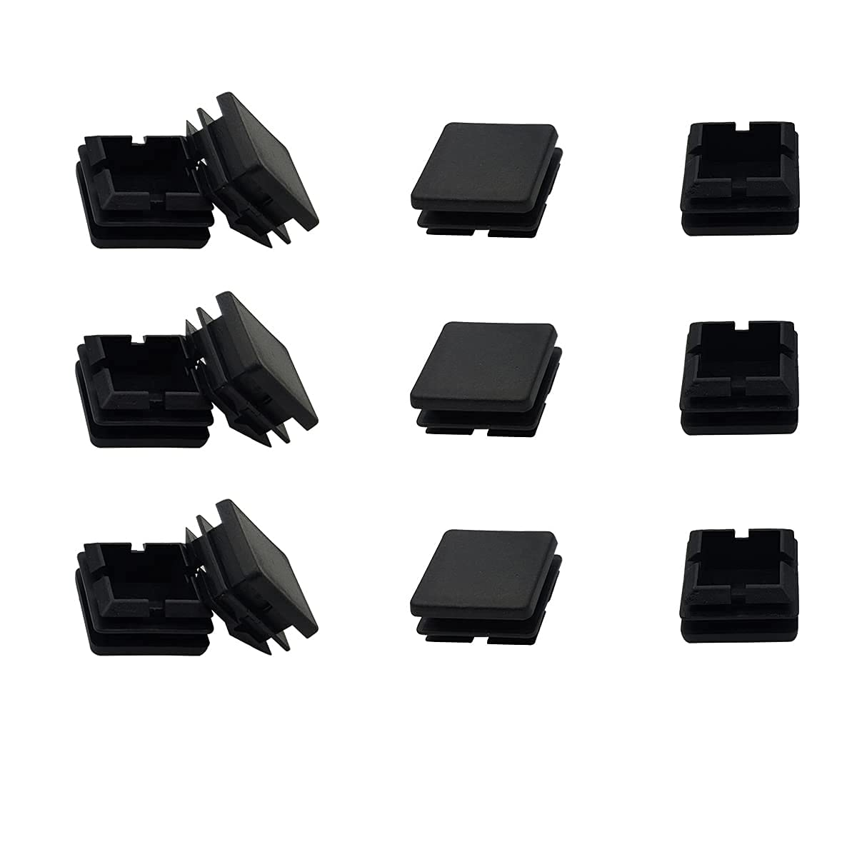 "12 Pack 1"" Square Black Plastic Plug, 1"