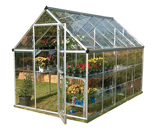 Palram Harmony 6x10 Silver Greenhouse - Clear Polycarbonate, Aluminum Frame, Base Included