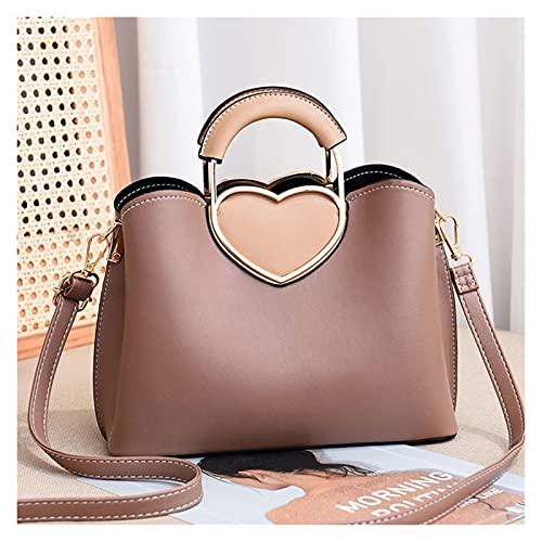 XIAOL Bolsos de cuero genuino para mujeres, bolso de mano con asa superior de moda bolso de trabajo de piel sintética bolsa de mensajero (color: caqui oscuro, tamaño: L)