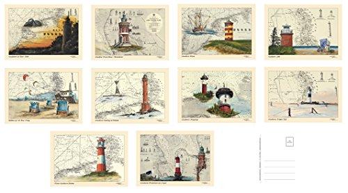 Maritimes Postkarten/Grußkarten/Sammel-Set von Thomas Kubitz mit den Motiven 'Nordsee II' (Leuchttürme, Strandkörbe, Strand, Seemotive auf historischen Seekarten)