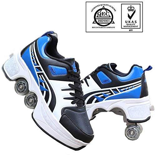 AG Einstellbare Hoch-Spitze Quad Roller Skates Anfänger Inline Skates 2-In-1 Multi-Purpose-Schuhe Unisex,Blau Schwarz,38