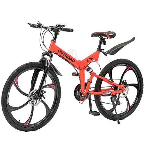 Outroad Folding Mountain Bike 6 Spoke 21 Speed 26 inch Wheel Double Disc Brake Full Suspension...