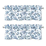DriftAway Claire Watercolor Floral Leaves Room Darkening Window Curtain Valance Rod Pocket 52 Inch by 14 Inch Plus 2 Inch Header Navy Gray 2 Pack