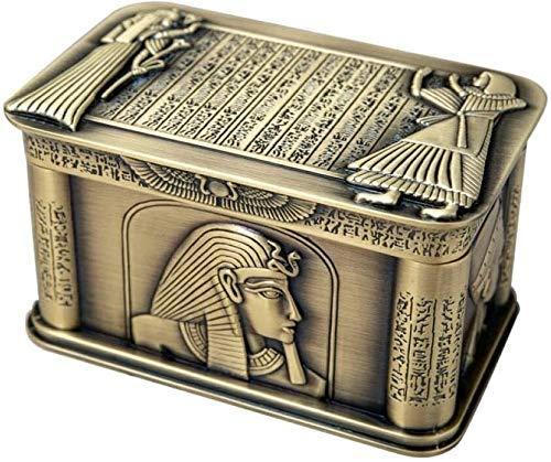 ZYYH Mädchen Schmuckschatulle Vintage Ägypten Pharao Metall Relief Schmuckschatulle Ägyptischen Geschenk Aufbewahrungskoffer Home Art Craft Dekoration Sarg Truhe Aufbewahrungstasche