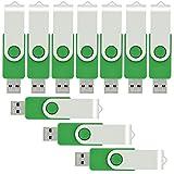 VICFUN 10 Pack 2GB USB Flash Drives 2GB USB 2.0 Memory Stick-Green