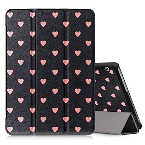 Pnakqil Hülle für Huawei Mediapad T3 10 (9,6 Zoll), PU Leder Trifold Stand Schutzhülle Ultra Dünn Smart Abdeckung mit Auto Aufwachen/Schlaf Tablet Cover, Schwarze Liebe