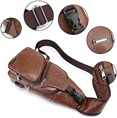 Mens Fashion Crossbody Bags Casual Single Shoulder Bag USB Chest 2018 Leather for Men