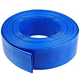 Eastrans 1-1/4 50' Blue PVC Lay-Flat Backwash Hose for Swimming Pools, Heavy Duty Discharge Hose Reinforced Pool Drain Hose, Weather Resistant Ideal for Water Transferring