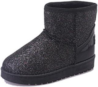 Inlefen Women Winter Snow Boots Sequins Round Head Flat Non-Slip Warm Snow Shoes