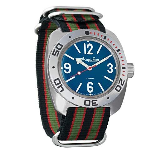 Vostok Amphibian automático Mens Reloj de pulsera Self-winding Militar buceo anfibios Ministerio caso reloj de pulsera # 710914