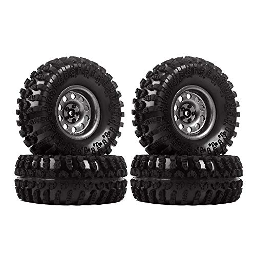 INJORA 2,2 RC Crawler Reifen Set mit Beadlock Felgen 4Pcs Tires mit Räder für 1/10 RC Crawler Axial SCX10 RR10 90053 AX10 Wraith 90056 90045 (Grau)