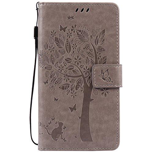 Guran® PU Leder Tasche Etui für Lenovo Moto Z (5,5 Zoll) Smartphone Flip Cover Stand Hülle & Karte Slot Hülle-grau