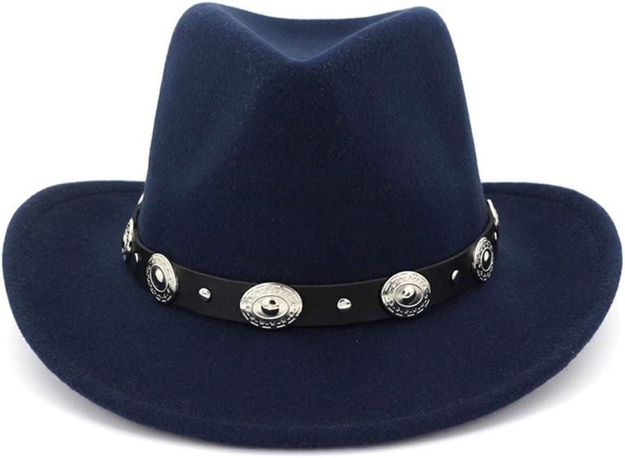 LHZUS Hats Cotton Fedora Hat Wide Brim with Jazz Hat Westerby Cowboy Hat Men Women Formal Party Hat Autumn Winter (Color : Dark Blue, Size : 56-58)