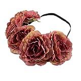 Kanggest 1 Piezas Diadema de Flores Mujer Venda de Pelo Alta Elasticidad Cinta de Pelo Banda Para la Cabeza Para Adornos Para el Pelo Boda(Marrón)