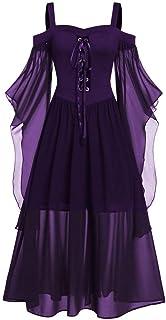 catmoew Vestido de Halloween, Vestido de Corbata con Manga de Mariposa y Hombros Descubiertos de Gran tamaño para Mujer, E...