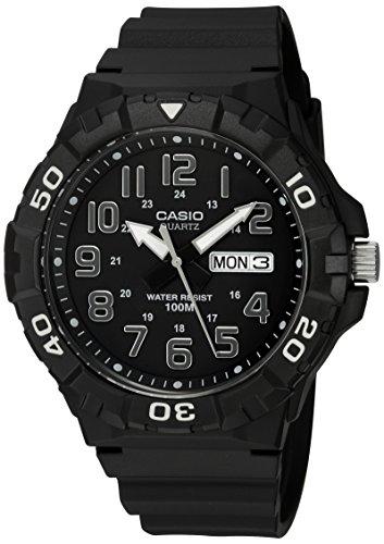 Casio - Reloj clásico de cuarzo para hombre con correa de resina, negro, 20 (modelo: MRW-210H-1AVCF)