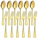 SourceTon - Juego de 12 tenedores y cucharas de acero inoxidable chapados en oro, tenedores resistentes (8 pulgadas) y cucharas (7 pulgadas), color dorado