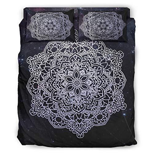 O3XEQ-8 Juego de 4 colchas, fundas de almohada y edredón, cómoda sábana bajera de 240 x 264 cm, color blanco