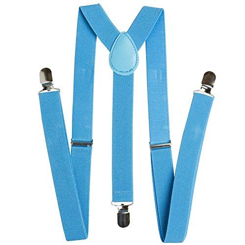 BRUBAKER Bretelles pour homme à 3 clips - Largeur : 24 mm - Couleur : noir - Bleu - Taille Unique