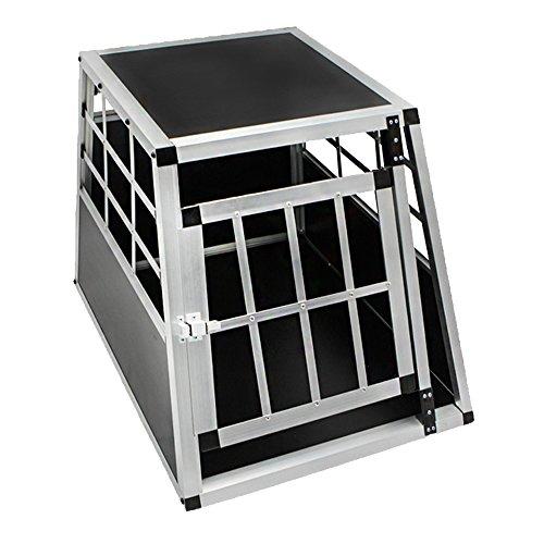 HENGMEI Alu Hundebox Hundetransportbox Reisebox Transportbox Gitterbox mit 1Türig für Haustier (M, 1 Türig)
