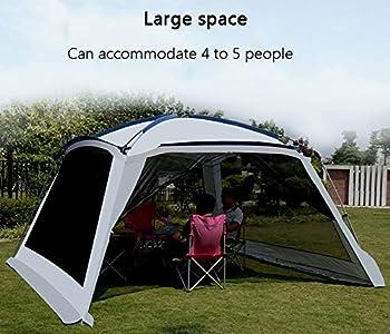 ZAQI Tonelle pergola Tente de Camping à moustiquaire de Camping, Grands auvents étanches Portables pour terrasse de Jardin extérieure, métal, Gris, 5-6 Personnes