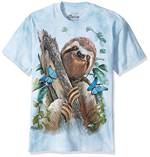 The Mountain Sloth & Butterflies Adult T-Shirt, Blue, Medium