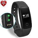 Pulseras de fitness, Pulsera Actividad pulso Monitor Pulsera Fitness Tracker remota cámara para Android iOS tracker de Bluetooth pulseras inteligentes (Negro)