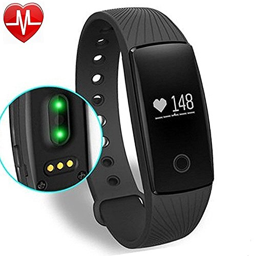 ID107PLUS Braccialetto Fitness,Smart Band Frequenza Cardiaca Monitor Fitness Tracker (Nero)