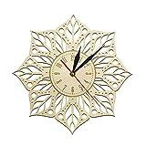 TTbaoz Diámetro 30Cm Mandala Lotus Yoga Arte Antiguo de la Pared Reloj de Pared de Madera Geometría Sagrada Decoración del hogar Yoga Interior Regalo para Ella
