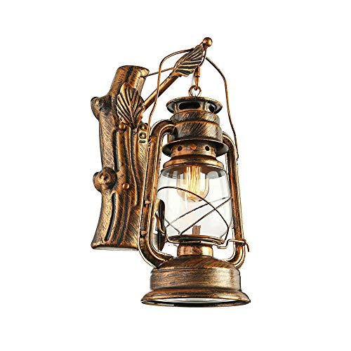 KWOKING Lighting Industrial Lantern Wall Mounted Oil lamp Vintage Wood Wall Sconce Barn Lighting Nautical Style Hanging Lamp with Clear Glass Shade in Bronze