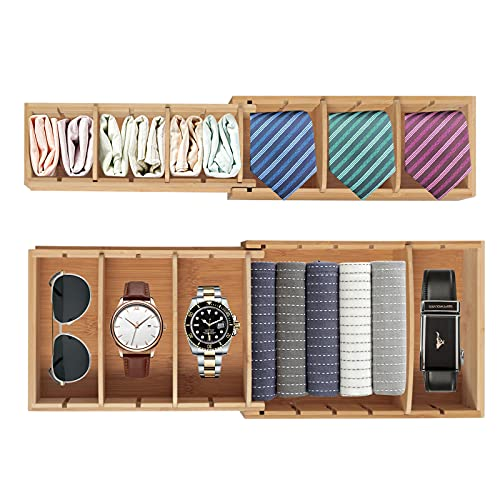 X-cosrack Expandable Drawer Organizer Storage Box Set with 12 Removable Adjustable Dividers Versatile Bamboo Drawer Organizer Trays for Kitchen , Office Desk,Bathroom , Makeup, Jewelry 2 Pack(Large,Small)