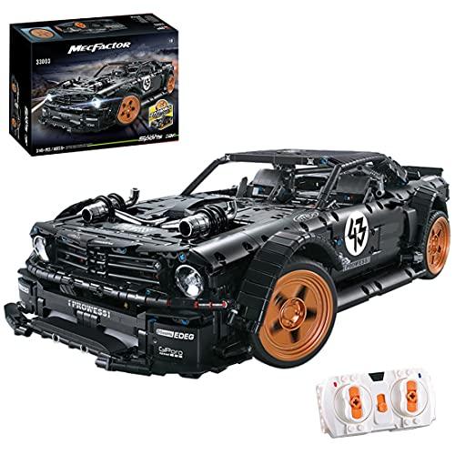 YOU339 Modelo de coche de carreras técnico para Ford Mustang, 3145 piezas de construcción de bloques de construcción con mando a distancia y motores, Assembly Bricks Toys for Lego