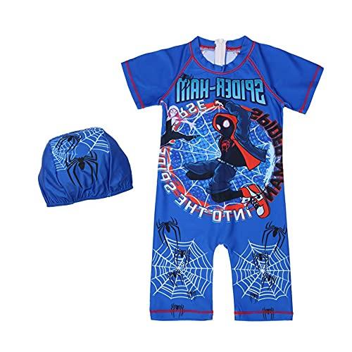 MYYLY Vengeur Garçon Spiderman Maillot Bain Cosplay Enfant Justaucorps Leçons Natation pour Enfants Dessin Animé Maillots Sport Nautique Manches Surfsuit Été Vacances,Blue-XS Kids (100~110CM)