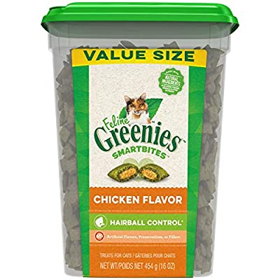 FELINE GREENIES SMARTBITES Hairball Control Natural Treats for Cats, Chicken Flavor, 16 oz. Tub