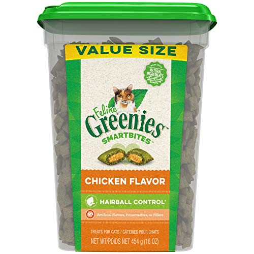 FELINE GREENIES SMARTBITES Hairball Control Crunchy and Soft Natural Cat Treats, Chicken Flavor, 16 oz. Tub