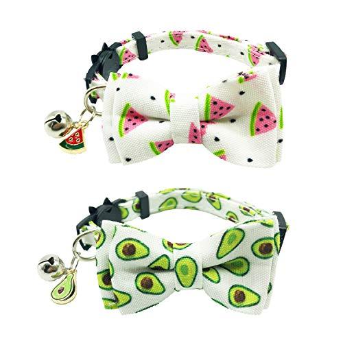 ADOGGYGO Cat Collar Breakaway with Bell Bowtie Cute Pet Kitten Collar Watermelon Avocado Print Cat...