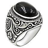 Jude Jewelers Retro Vintage Stainless Steel Turquoise Onyx Ring (Black, 10)